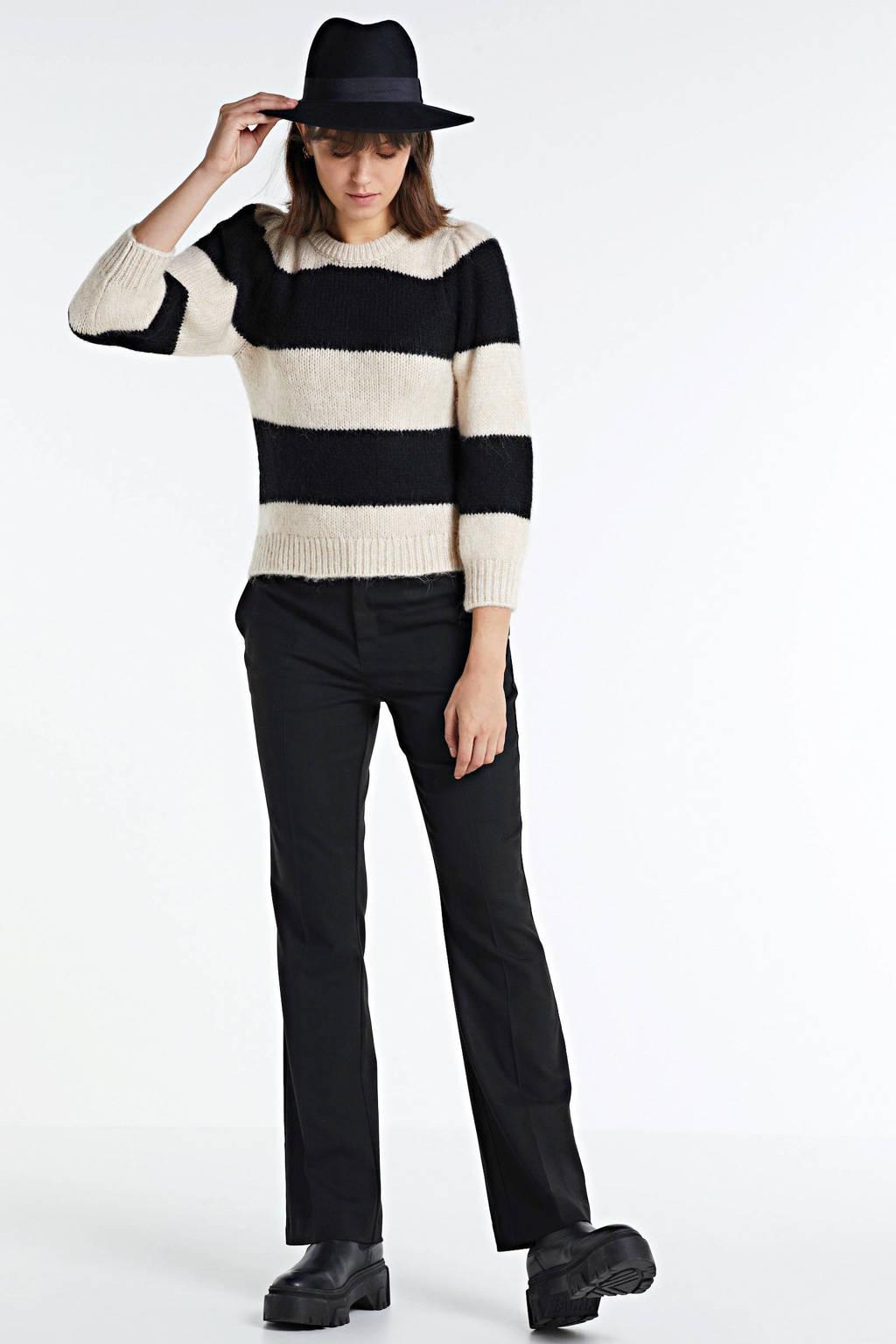 ONLY gestreepte gebreide trui Benin beige/zwart, Beige/zwart