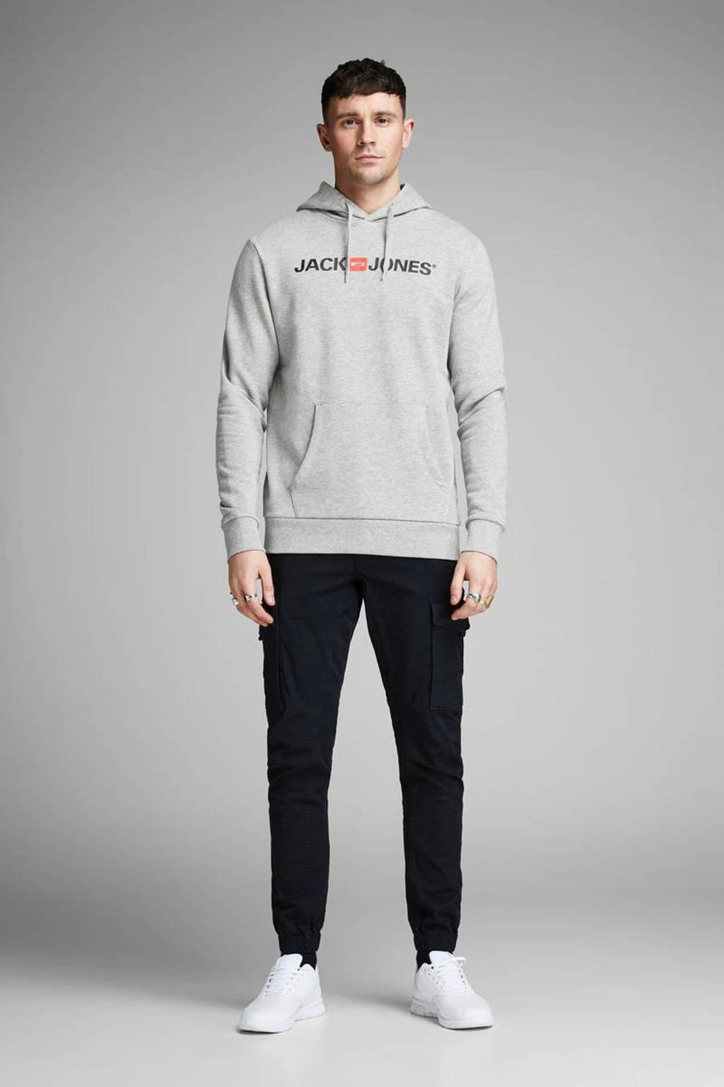 JACK & JONES ESSENTIALS hoodie met logo grijs melange, Grijs melange