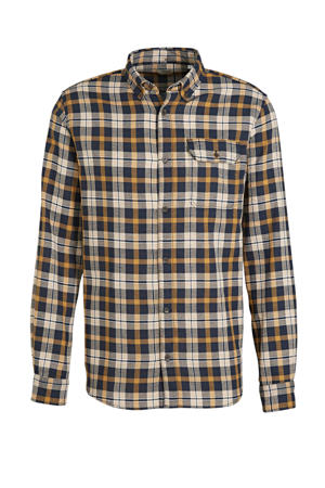 geruit regular fit overhemd Emmerson oker