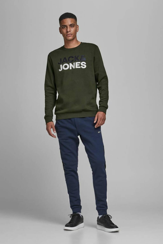 JACK & JONES ESSENTIALS sweater met logo donkergroen, Donkergroen