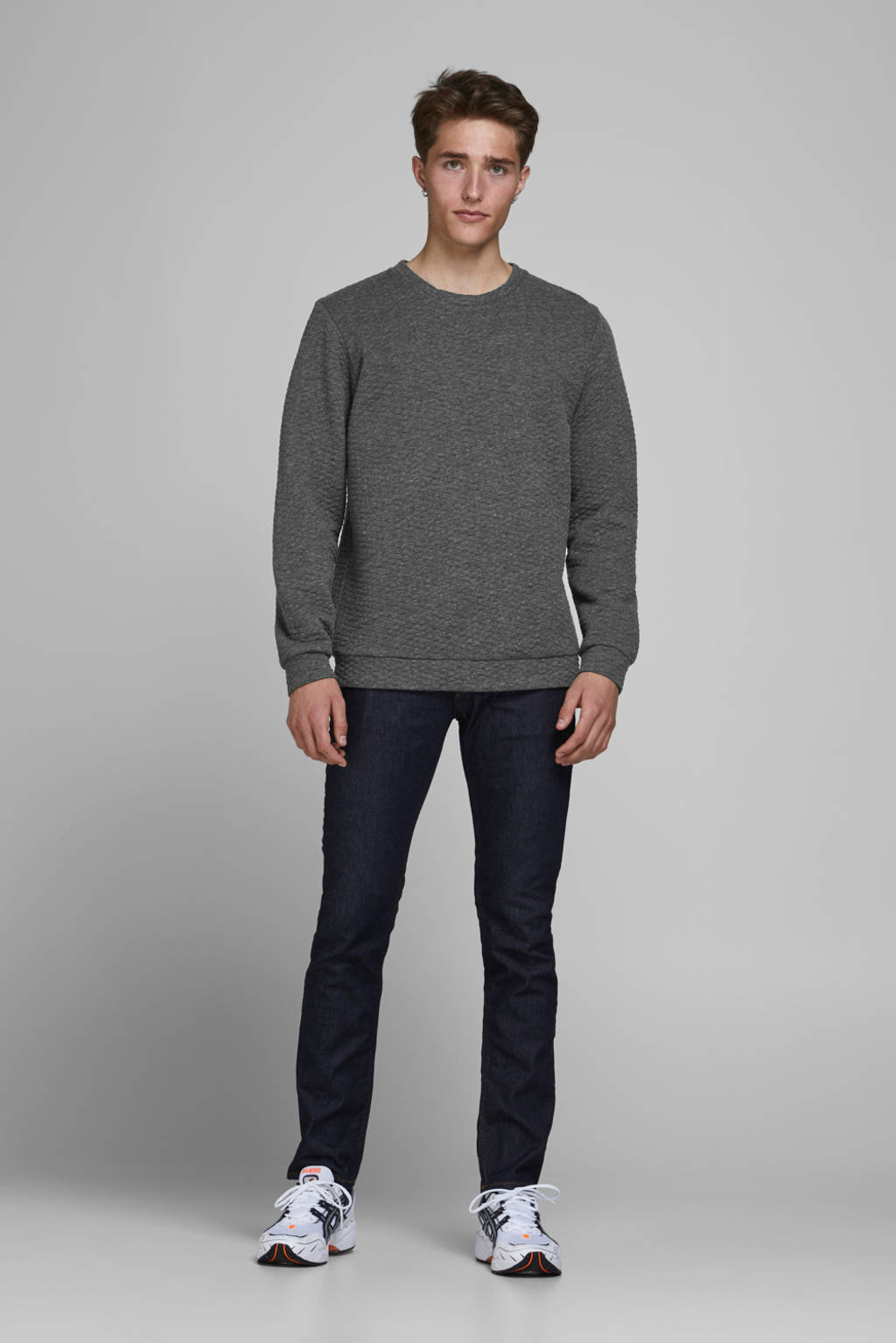 JACK & JONES ESSENTIALS gemêleerde sweater grijs, Grijs