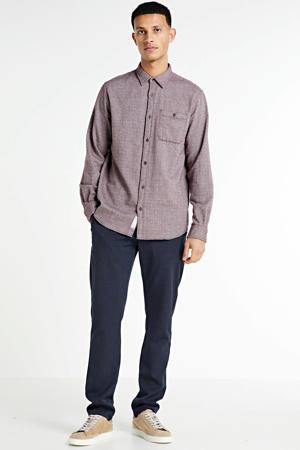 gemêleerd regular fit overhemd Barret aubergine