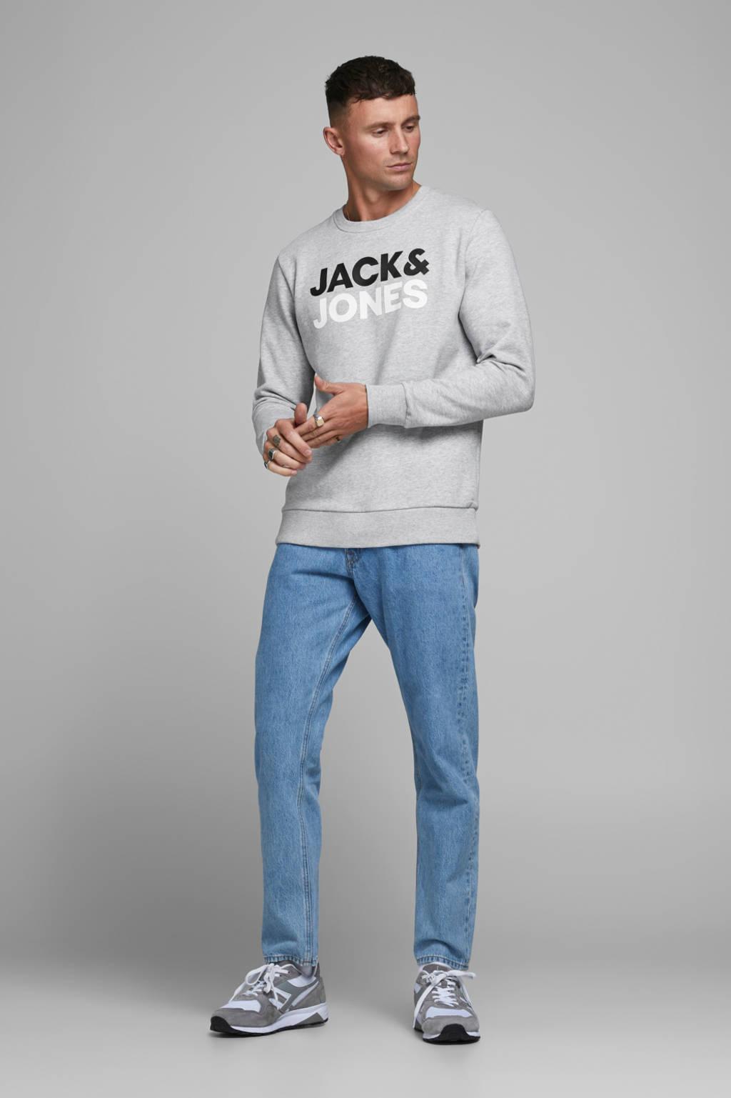 JACK & JONES ESSENTIALS sweater met logo lichtgrijs melange, Lichtgrijs melange