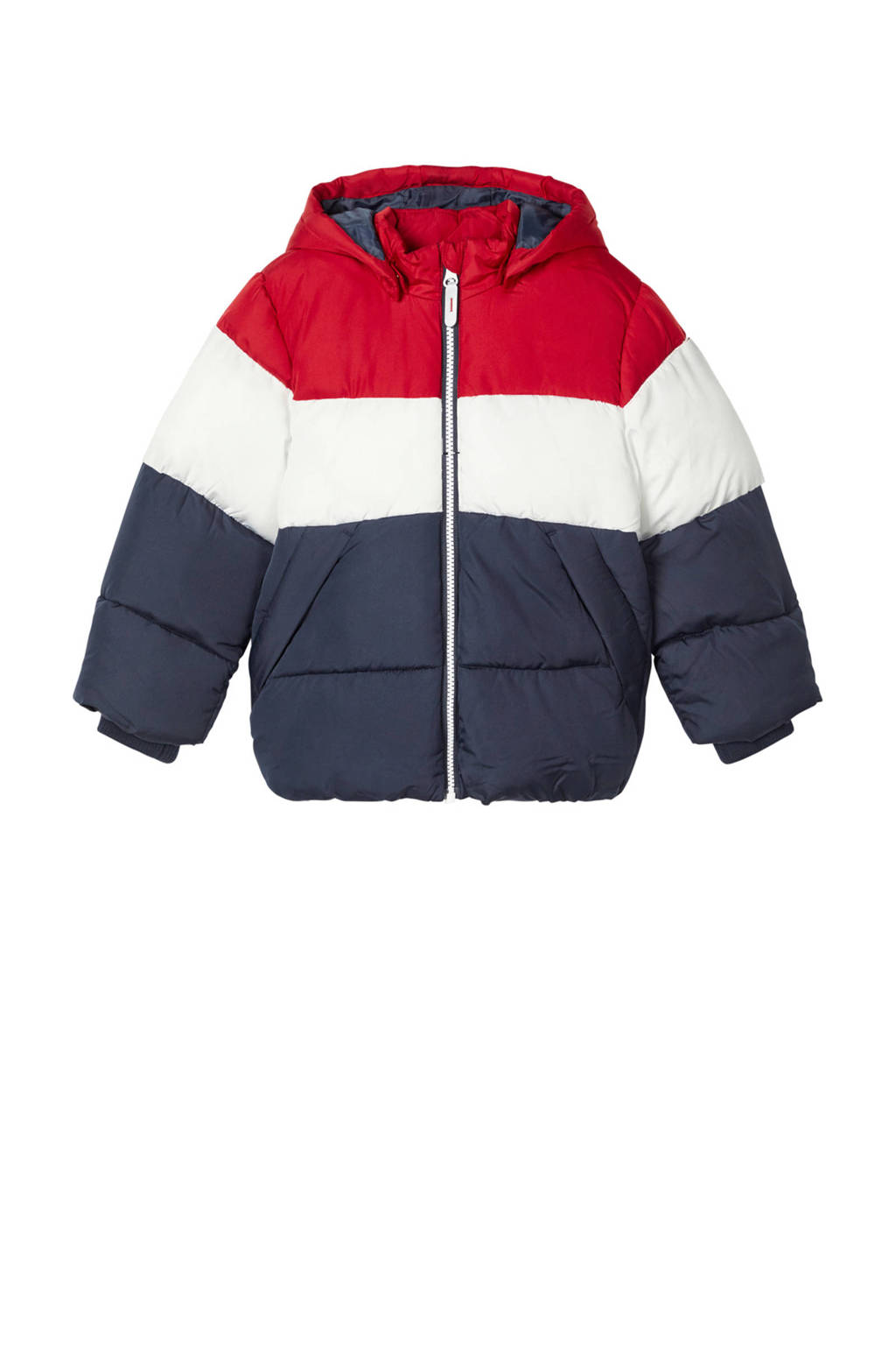 NAME IT MINI gewatteerde winterjas May rood/wit/donkerblauw, Rood/wit/donkerblauw