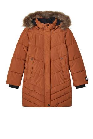 gewatteerde winterjas Mabecc van gerecycled polyester bruin