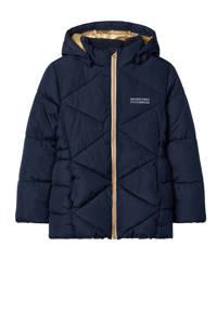 NAME IT KIDS gewatteerde winterjas Milton van gerecycled polyester donkerblauw, Donkerblauw