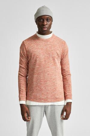 gemêleerde sweater van biologisch katoen zalm