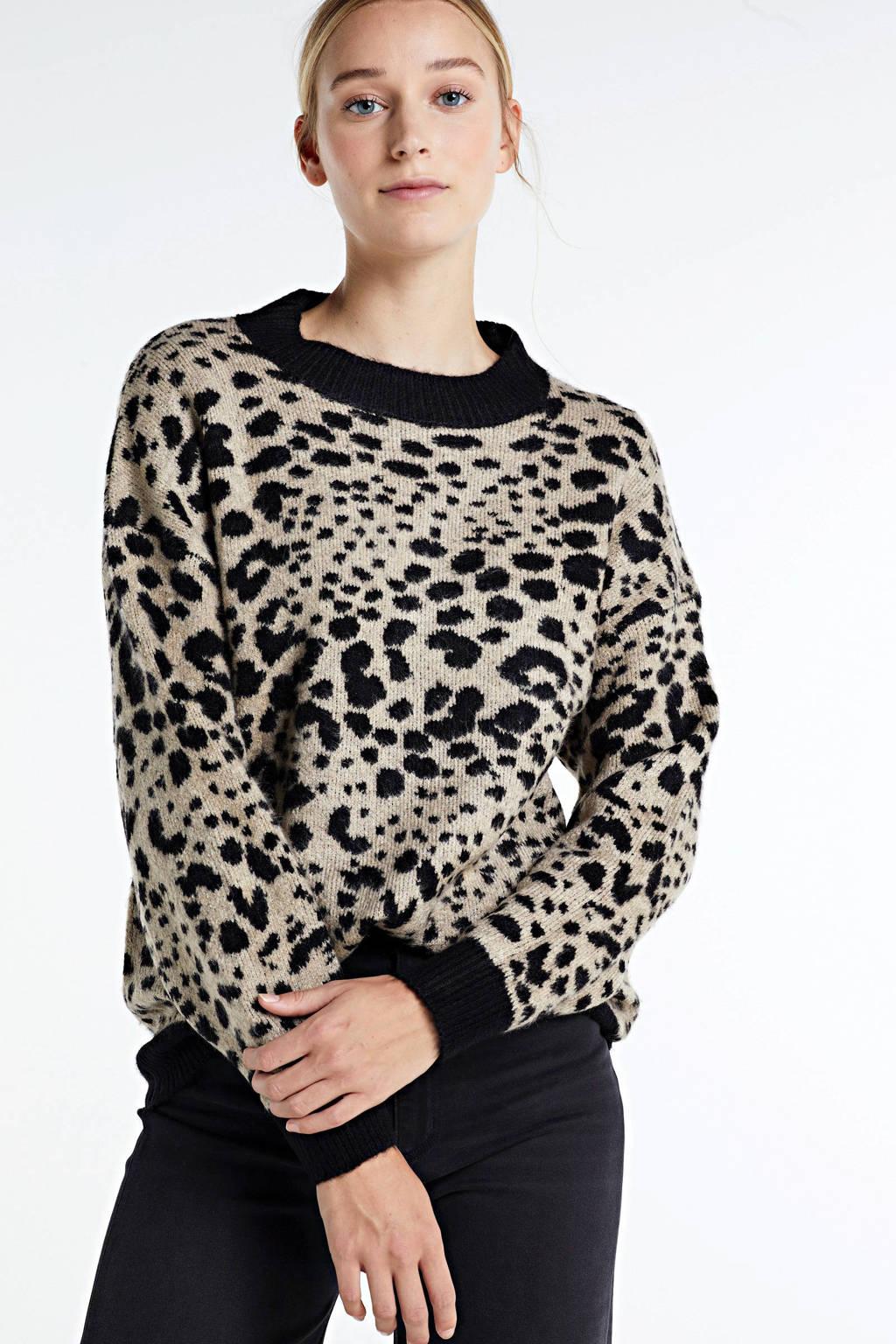 JACQUELINE DE YONG gebreide trui Lian met panterprint zwart/beige, Zwart/beige