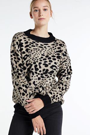 gebreide trui Lian met panterprint zwart/beige
