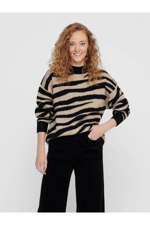 gebreide trui Lian met zebraprint zwart/beige
