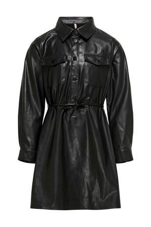 imitatieleren jurk Birdie met ceintuur zwart