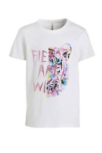 KIDS ONLY T-shirt Lucy van biologisch katoen wit, Wit