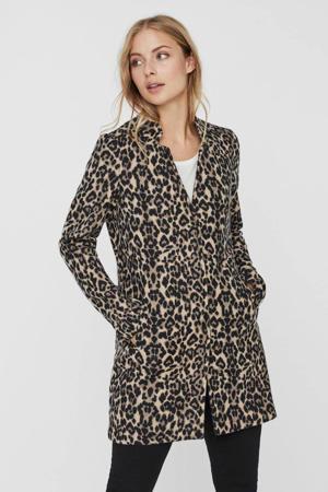 coat met panterprint beige/zwart