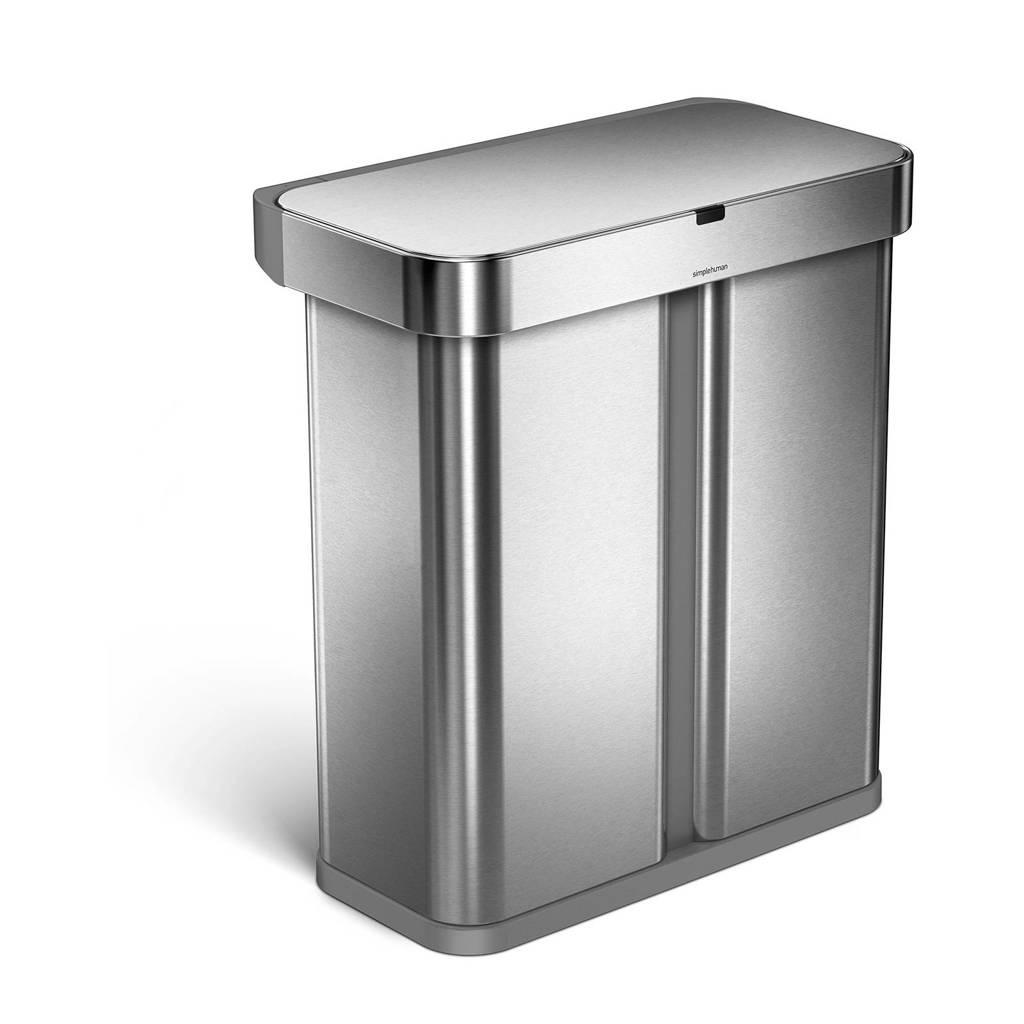 SimpleHuman Liner Pocket afvalemmer Voice Control Recycler (24+34L), Zilver