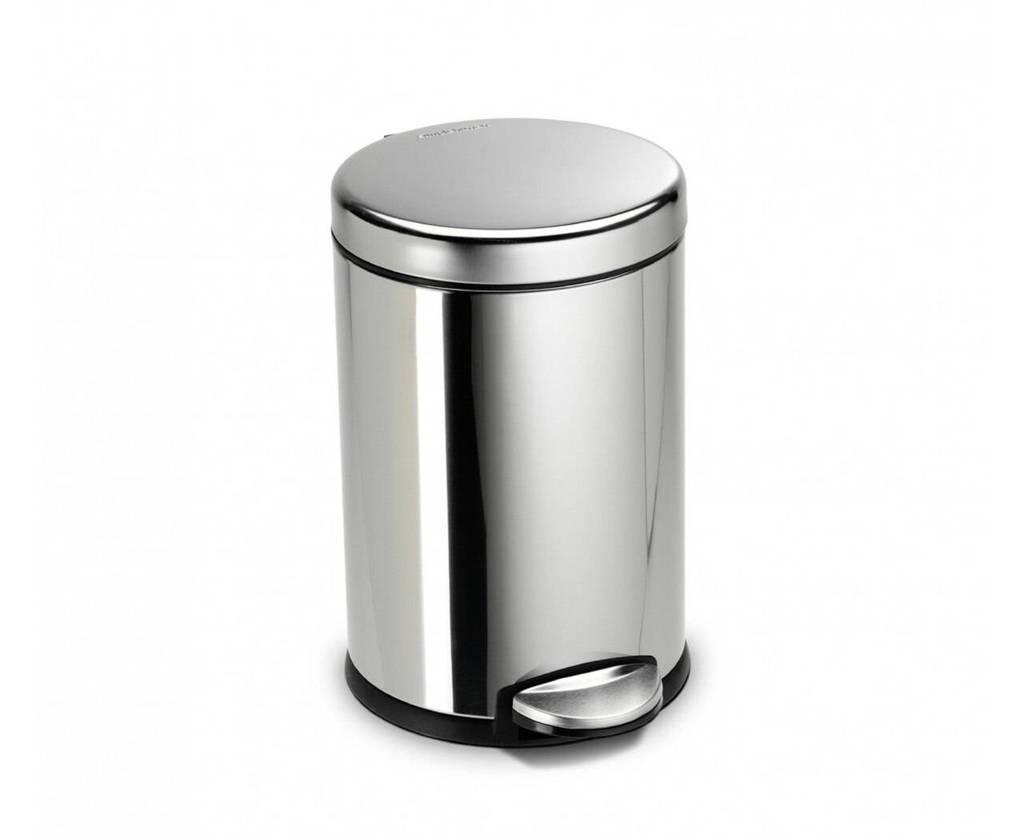 SimpleHuman  afvalemmer Rond (4,5L), Zilver