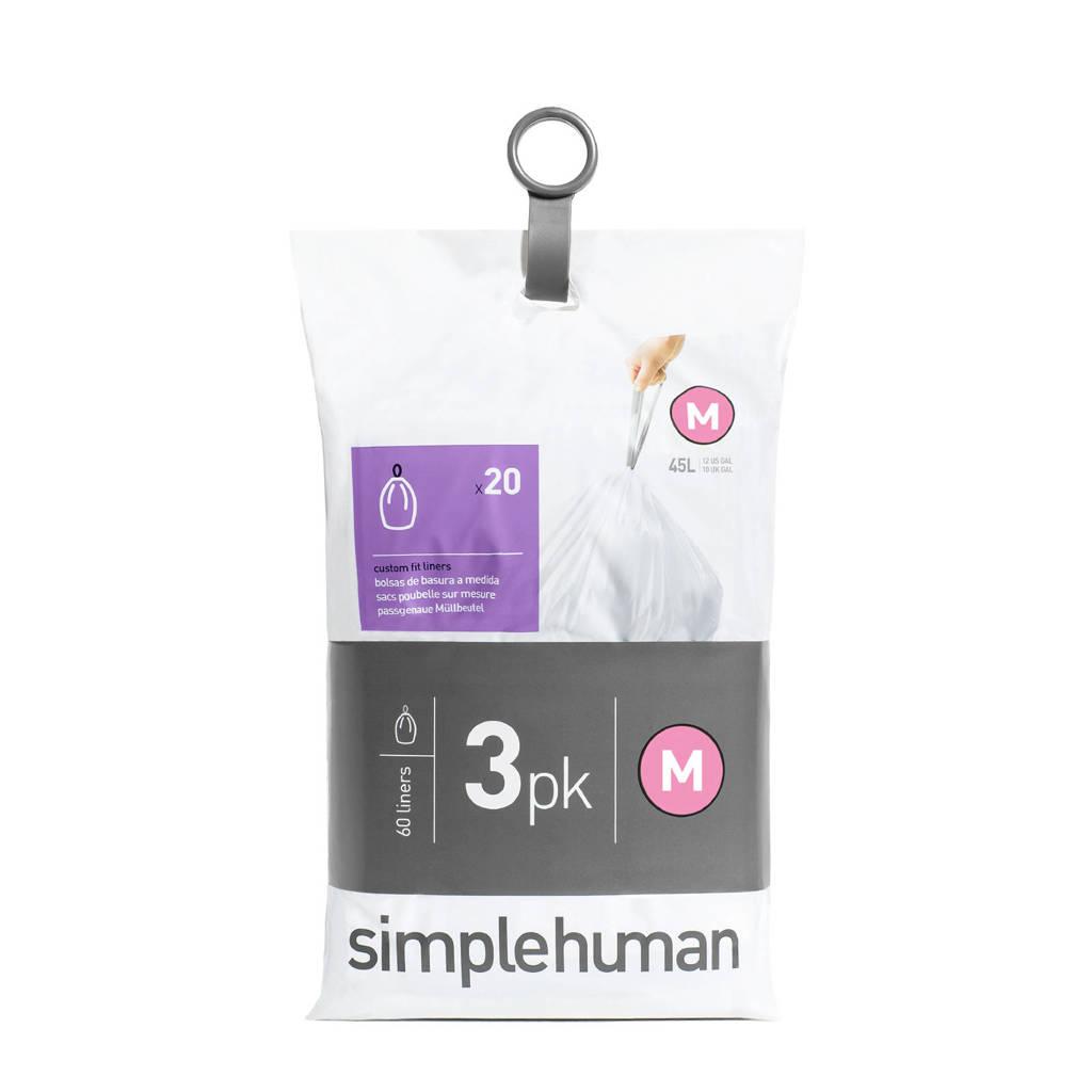 SimpleHuman afvalzak Code M (45L) (Set van 3x20 stuks)