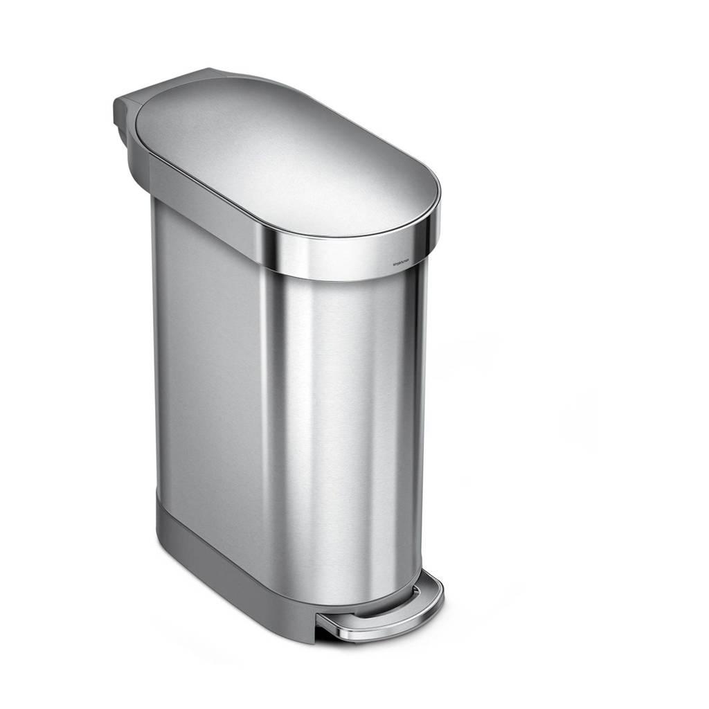 SimpleHuman Slim afvalemmer (45L), Zilver