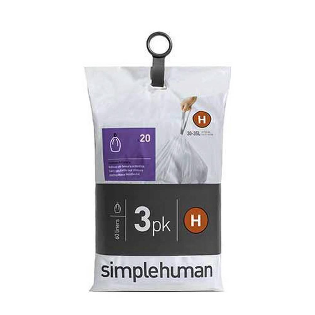 SimpleHuman afvalzak Code H (30L) (Set van 3x20 stuks)
