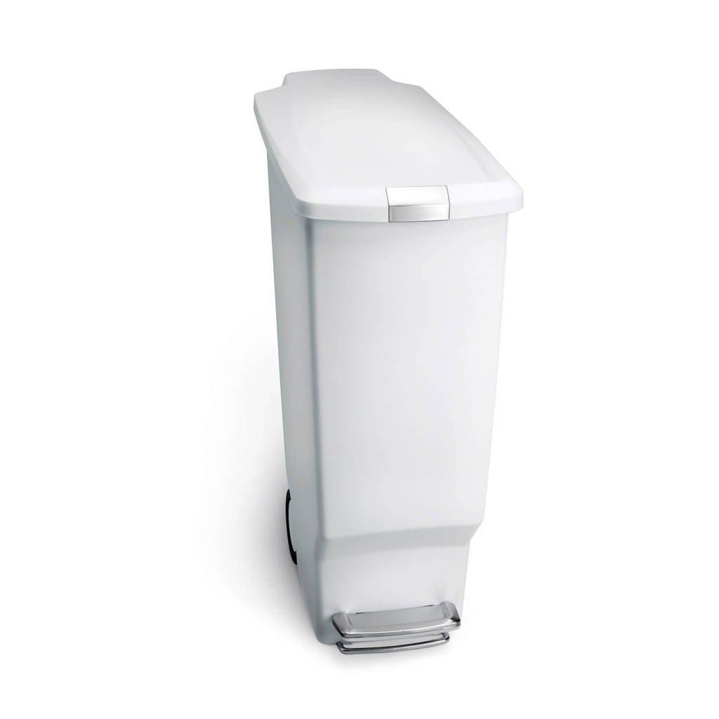 SimpleHuman Slim afvalemmer (40L), Wit