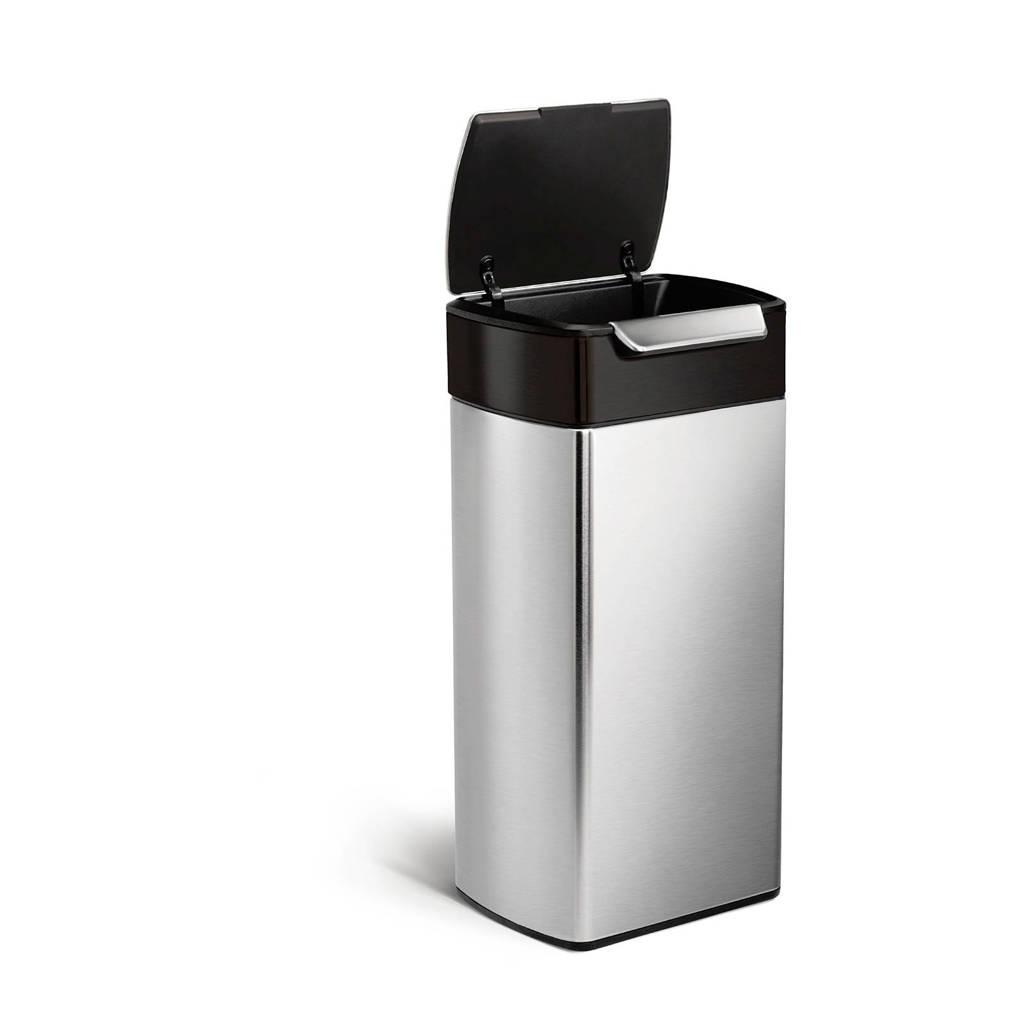 SimpleHuman Touch Bar afvalemmer (30L), zilver-zwart