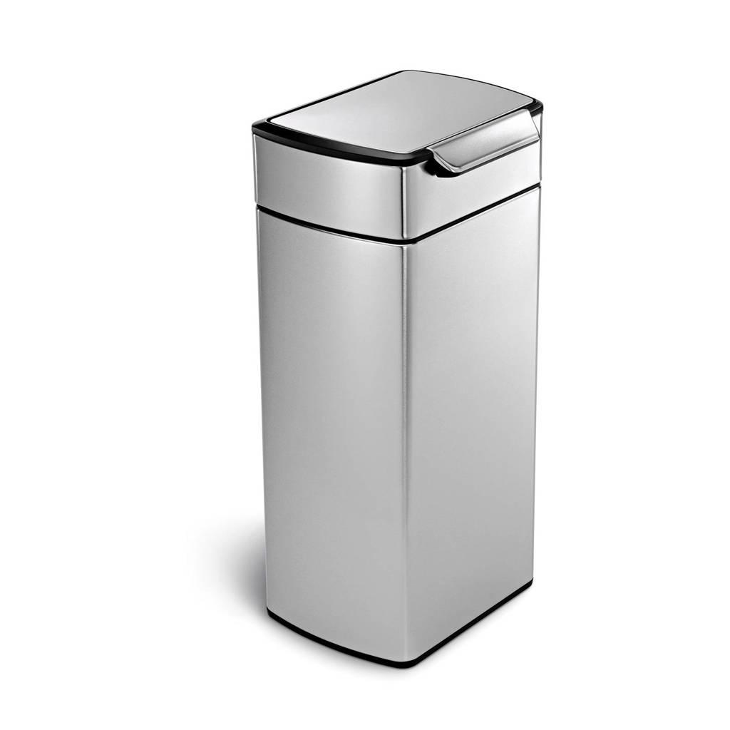 SimpleHuman Touch Bar afvalemmer (30L), Zilver