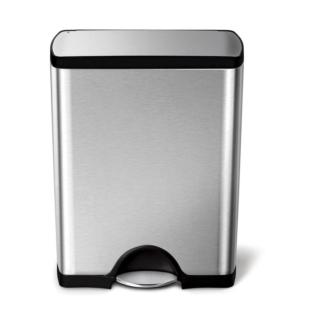 SimpleHuman Classic afvalemmer (50L), Zilver