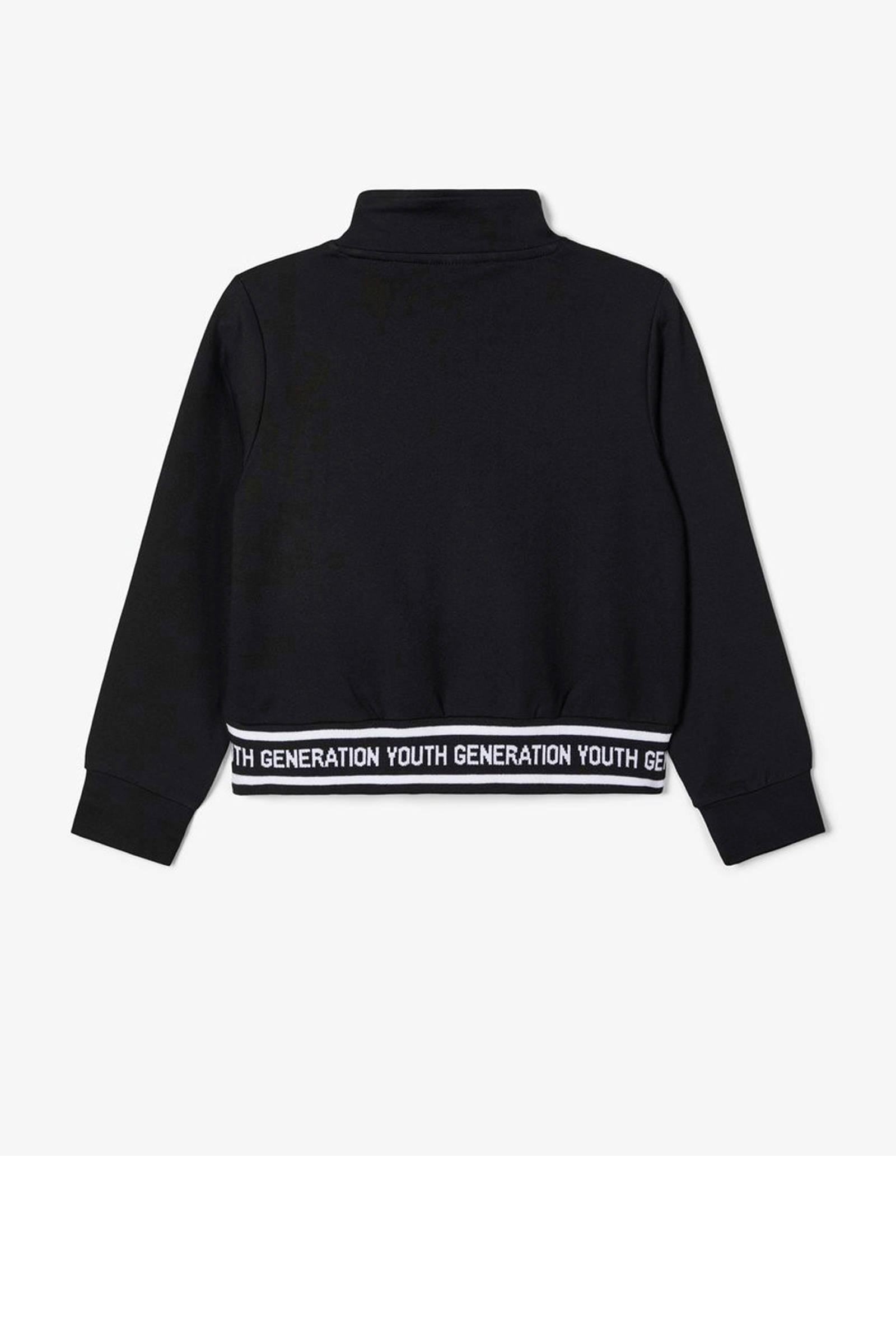 NAME IT KIDS sweater Naba met tekst zwartwit | wehkamp