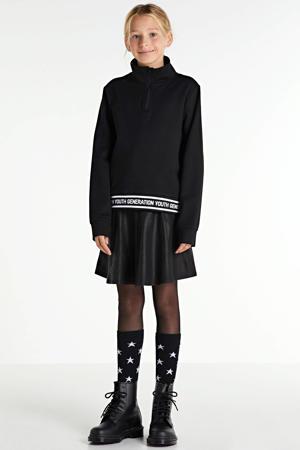 sweater Naba met tekst zwart/wit