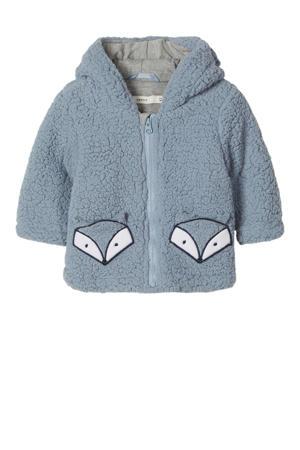 baby teddy winterjas Millo met printopdruk blauw