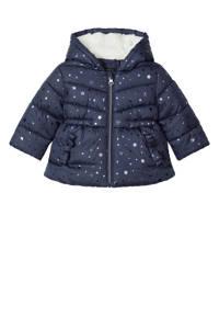 NAME IT BABY baby gewatteerde winterjas Meliessa met all over print donkerblauw, Blauw
