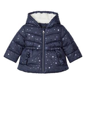 baby gewatteerde winterjas Meliessa met all over print donkerblauw