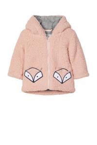 NAME IT BABY baby teddy tussenjas Millo met printopdruk roze/grijs, Roze/grijs