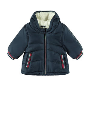 baby gewatteerde winterjas Mingo donkerblauw/rood/wit