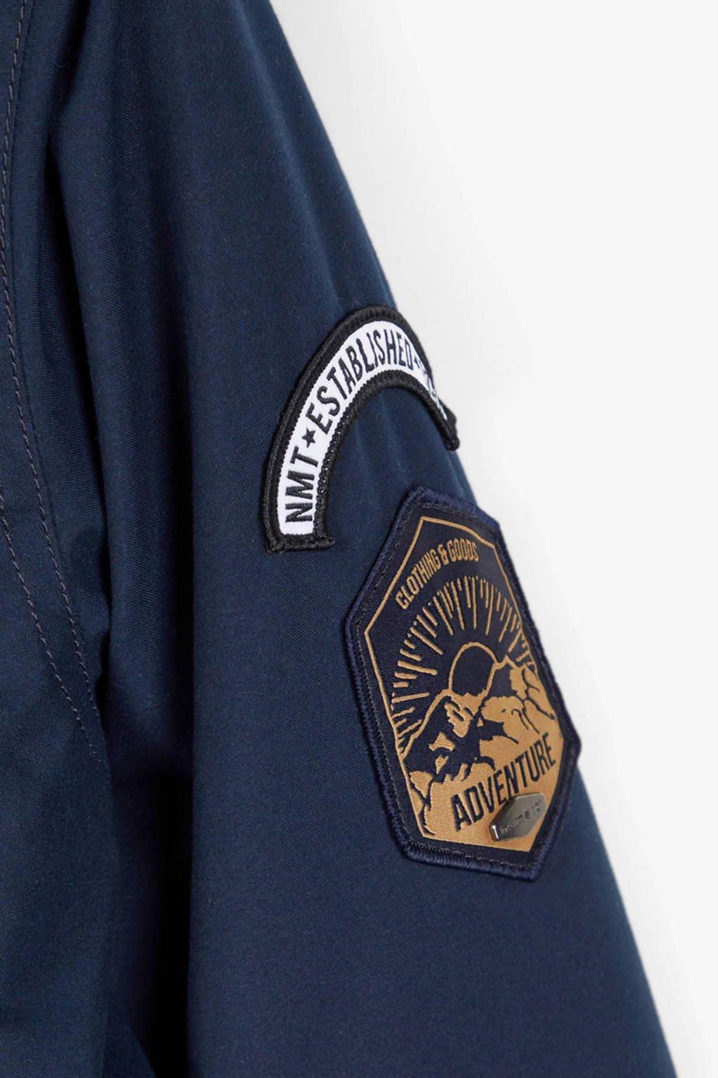 NAME IT KIDS  winterjas Mack met patches donkerblauw, Donkerblauw