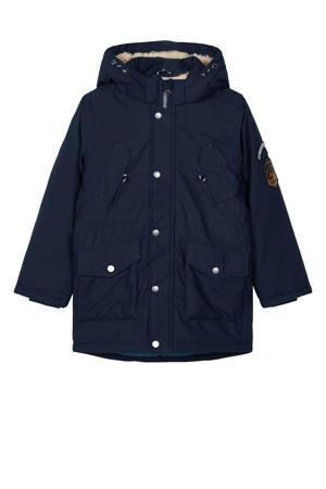 winterjas Mack met patches donkerblauw