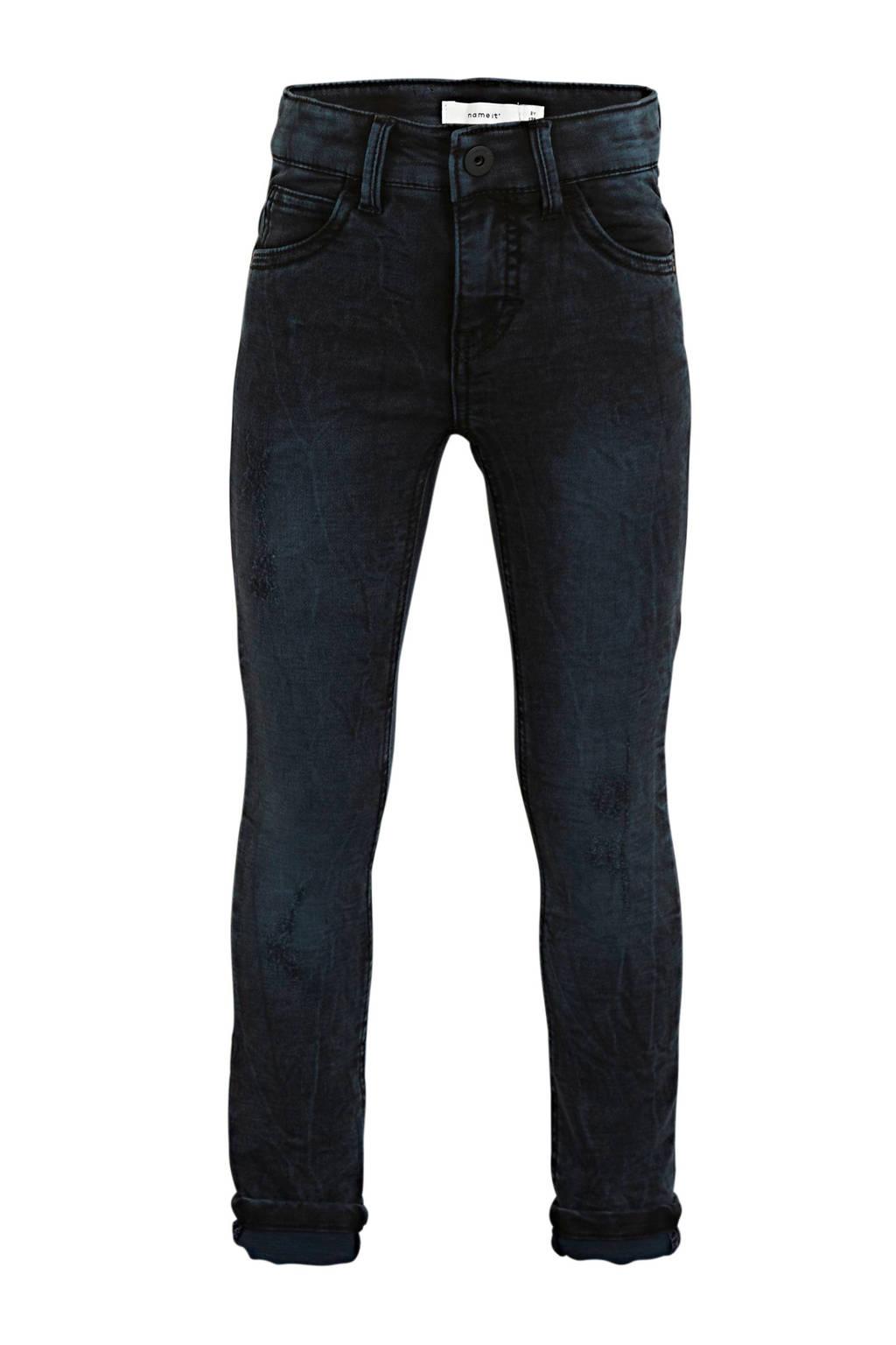 NAME IT KIDS skinny jeans Pete met biologisch katoen zwart, Zwart