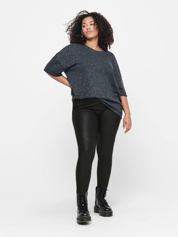ONLY CARMAKOMA coated slim fit broek Argain zwart, Zwart