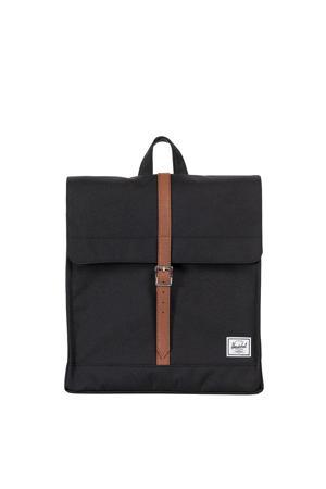 City Mid-Volume Rugzak zwart/tan synthetic leather