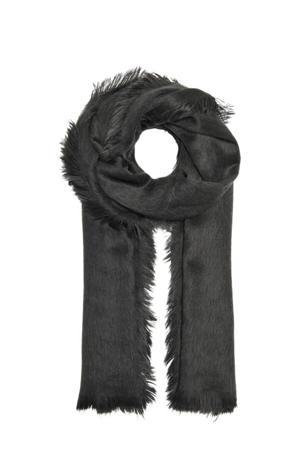 sjaal van imitatiebont antraciet