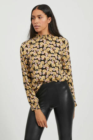 blouse met all over print zwart