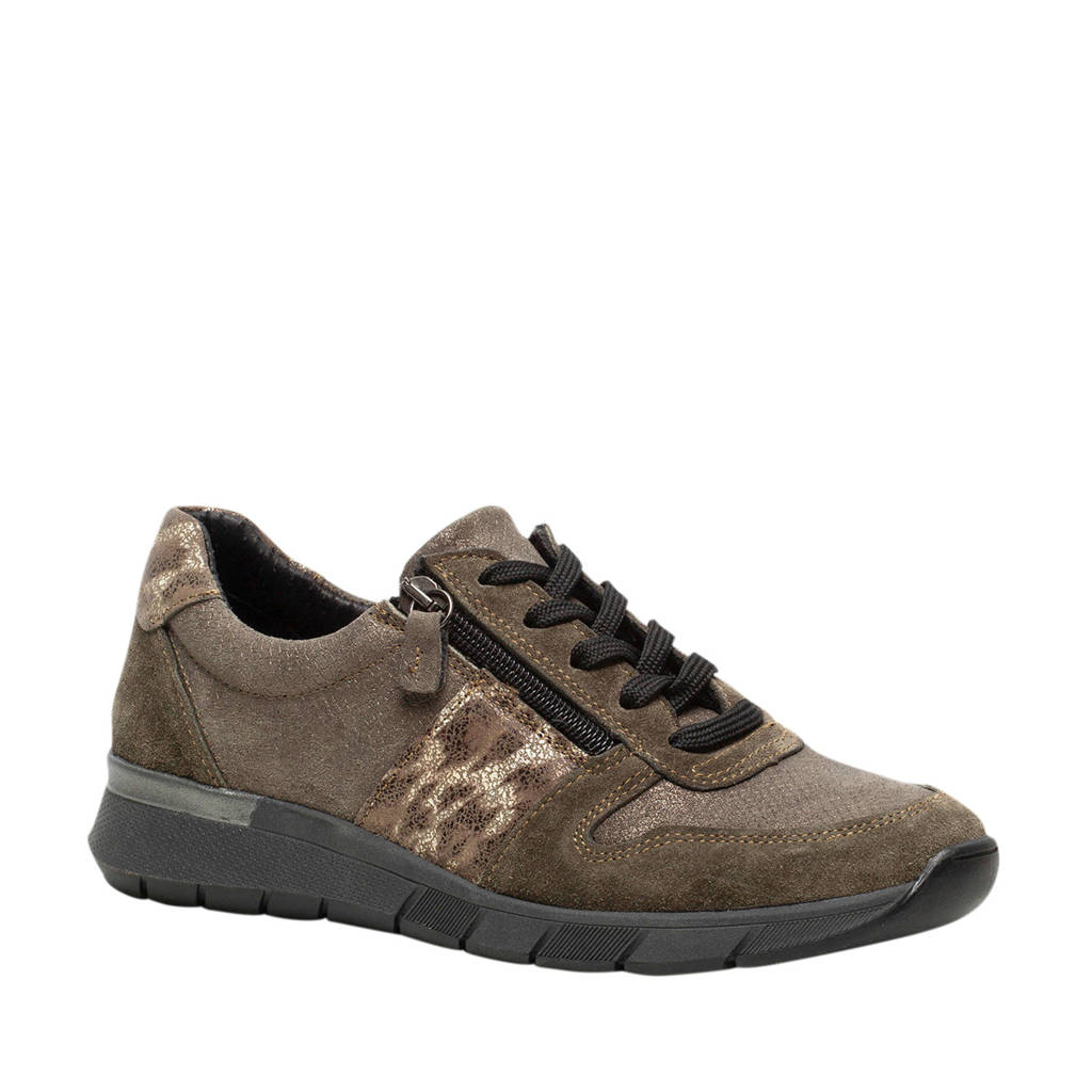 Hush Puppies   suède sneakers bruin/groen, Bruin/groen
