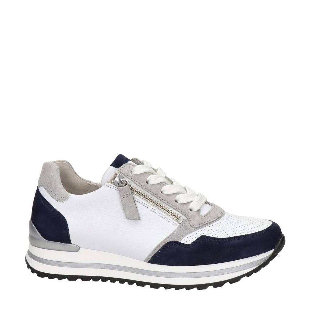 Gabor Turin comfort suède sneakers wit/blauw, Wit/blauw/beige