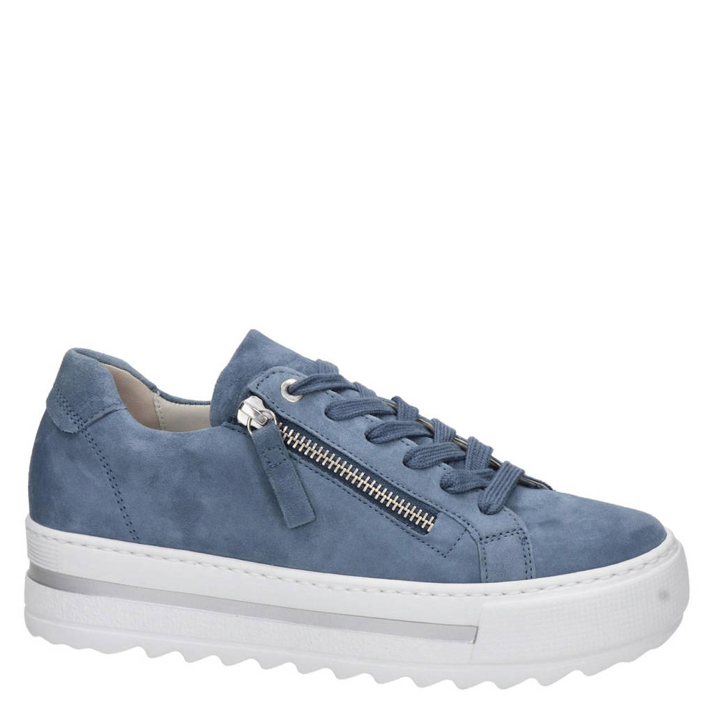 Gabor   suède plateau sneakers lichtblauw, Lichtblauw