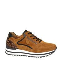 Gabor 526 comfort suède sneakers cognac, Cognac/zwart