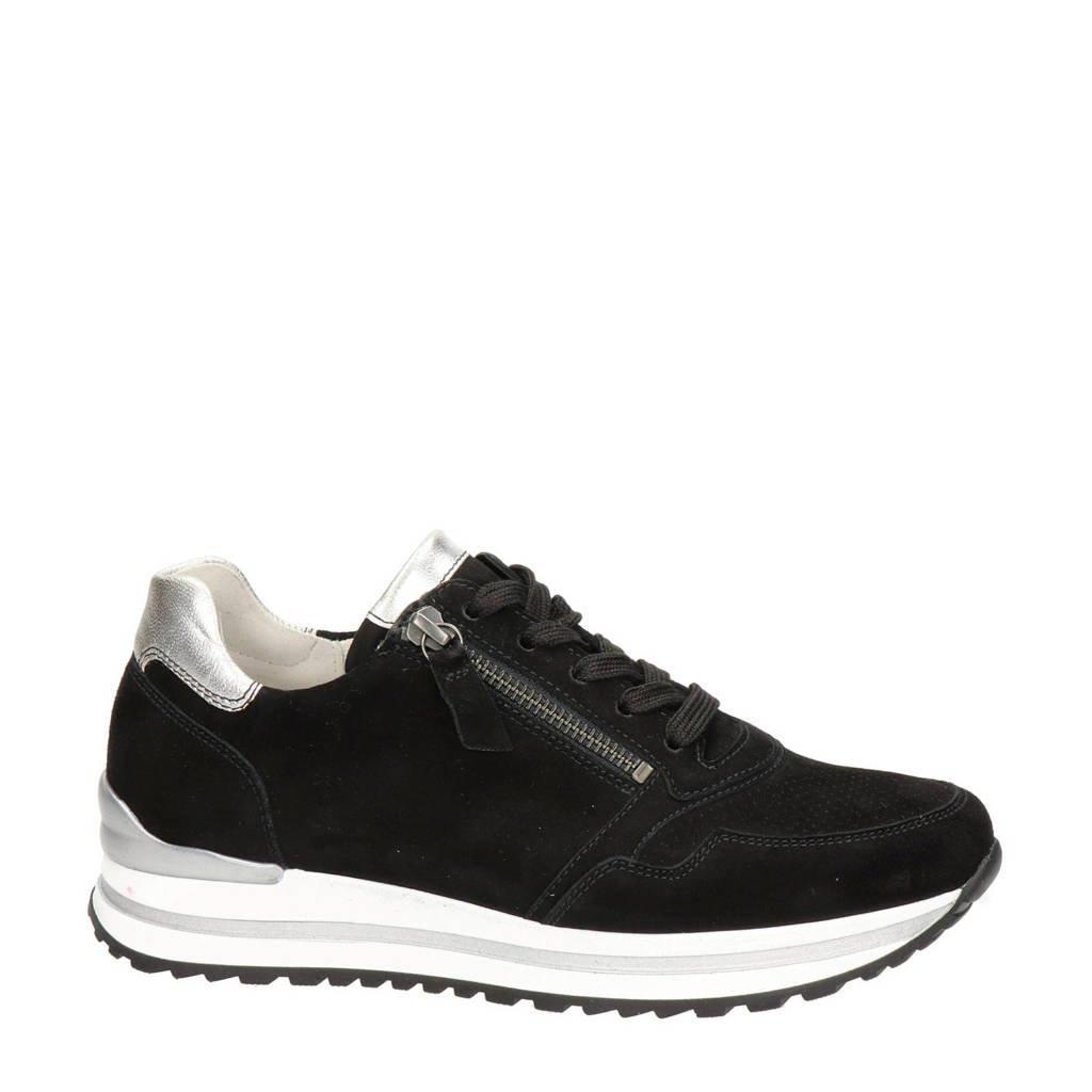 Gabor  comfort suède sneakers zwart, zwart multi