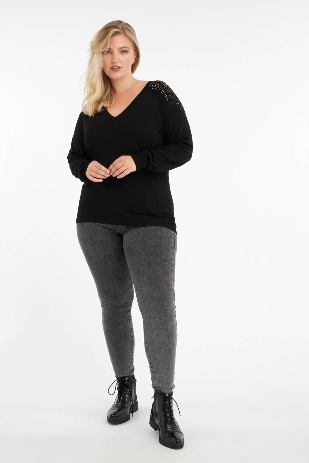 MS Mode fijngebreide trui met strass steentjes zwart, Zwart