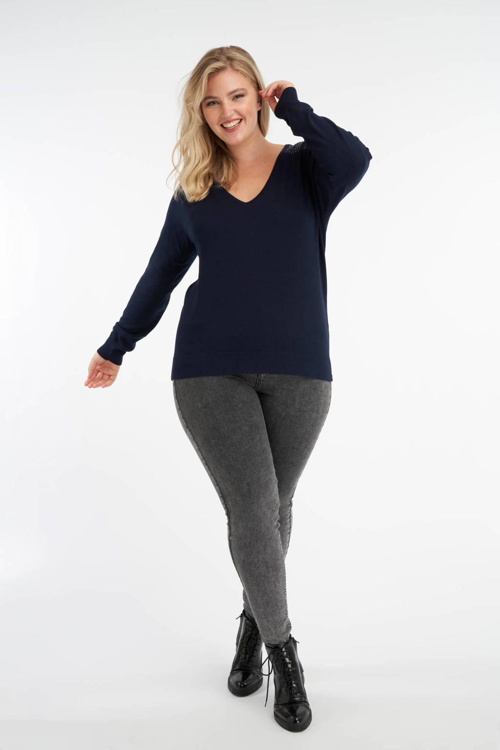 MS Mode fijngebreide trui met strass steentjes donkerblauw, Donkerblauw