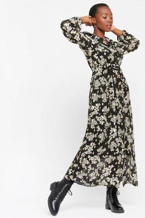 gebloemde maxi jurk zwart/groen/goud