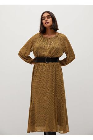 maxi jurk met all over print en ceintuur donkerbruin