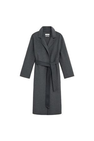 trenchcoat met wol grijs
